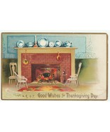Vintage Postcard Thanksgiving Fireplace Cozy Scene 1907 Embossed - $7.91
