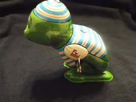 "Vintage 1960's Tin Litho Mechanical Wind Up ""Hopping Frog"" Yone Toy, Japan  - $72.50"