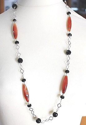 SILVER 925 NECKLACE, AGATE RED, ONYX BLACK, LONG 31 1/2in, CHAIN SQUARED