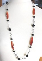 SILVER 925 NECKLACE, AGATE RED, ONYX BLACK, LONG 31 1/2in, CHAIN SQUARED image 1