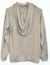 Chance or Fat Women's Heathered Brown Cowl Neck Hooded Hoodie Sweatshirt Size L image 2