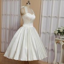 1905's Vintage White Halter Satin Tea Length Wedding Dress With Bow
