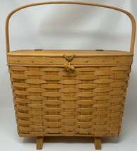 Longaberger 1994 Magazine Basket Footed with Plastic Protector 19-1606 - $71.24
