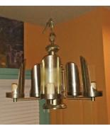 Vintage Art Deco Retro Style Antique Brushed Brass 1960's Chandelier 5 A... - $68.31