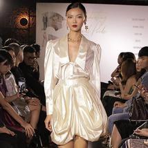 Women' Fashion Runway Long Sleeve Elegant White Silky Mini Dress Set image 2