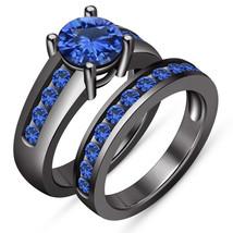 Women's Brilliant Blue Sapphire New Black Gold Finish 925 Silver Bridal ... - $102.99
