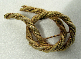 Vintage Napier Signed Gold Plated Twisted Rope Brooch / Pin  - $12.86