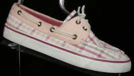 Sperry Top-Sider Bahama Raspberry Seersucker plaid boat loafer shoes 6.5M - $26.23