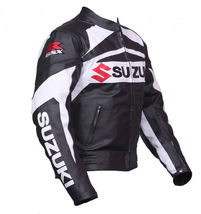 SUZUKI GSXR BLACK WHITE COWHIDE RACING MOTORCYCLE LEATHER JACKET WITH SA... - $159.99+
