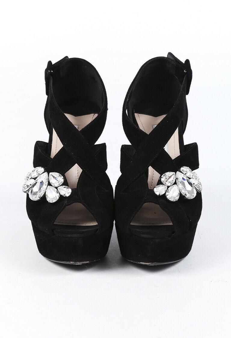 Miu Miu Crystal Suede Platform Sandals SZ 37.5