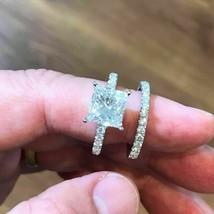 14K White Gold Over 2Ct Princess Cut Diamond Gorgeous Bridal Set Engagem... - $126.98