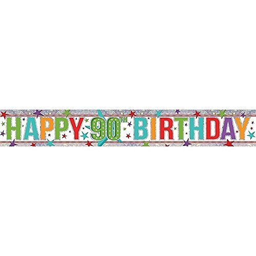 Amscan 9900971 2.7 M Happy 00th Birthday Holographic Foil Banner #idd