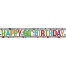 Amscan 9900971 2.7 M Happy 00th Birthday Holographic Foil Banner #idd - $7.49