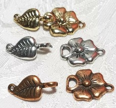 FLOWER AND LEAF FINE PEWTER TOGGLE SET - 34x15x6mm image 1