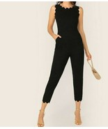 Black Scallop Trim Pocket Side Tapered Jumpsuit Playsuit Romper Pants Top - $44.99