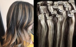 """18"""",20"""",22"""",24"""" 100% Remy Human Highlighted Hair Extensions 7Pcs Clip in #2/613 - $69.29+"""