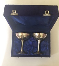 Set of Two Silver Plated Goblets from India in Protective Velvet Case - $9.49