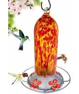 Grateful Gnome - Hummingbird Feeder - Hand Blown Glass - Fiery Bell Towe... - $29.69