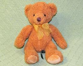 "10"" RUSS BERRIE TEDDY BEAR MACEY STUFFED ANIMAL PLUSH TAN BROWN GOLD RIB... - $14.85"
