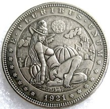 Rare Hobo Nickel 1921 Morgan Halloween Witch Pumpkin Patch Moon Casted Coin - $11.99