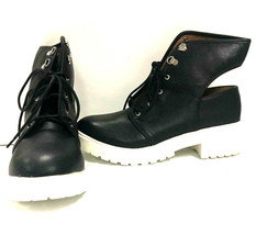 Qupid Women's Open Back Lace Up Ankle Boots Valian 03A, Black PU, US 7 - $32.77