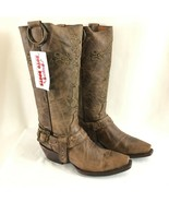 Soto Womens Boots Valencia Western Leather Cowboy Cross Embroidered Brown 6 - $96.74