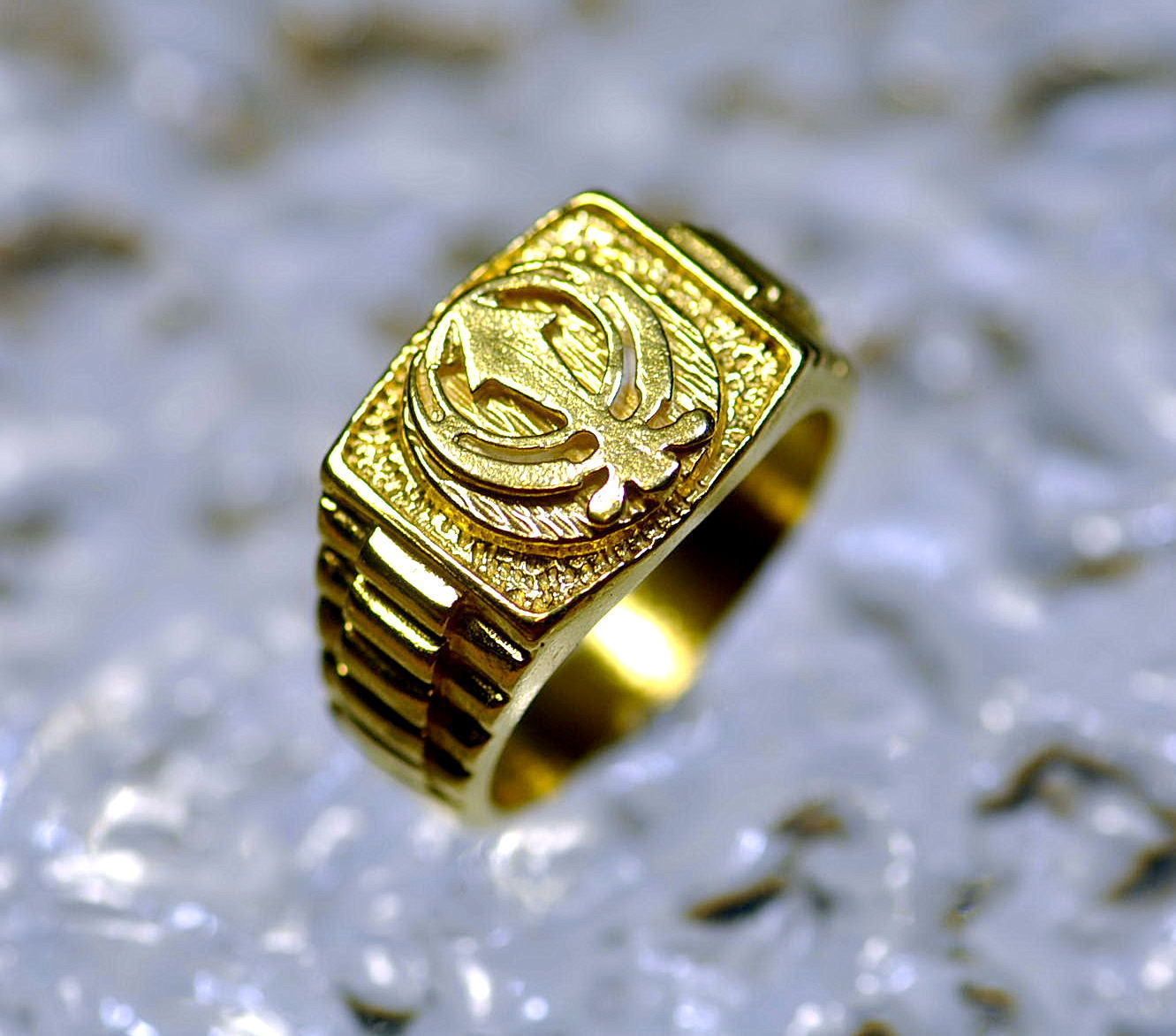 Gold Plated RING Sikh Khanda Sword GURU NANAK Jewelry