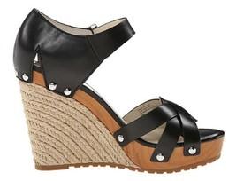 Women's Michael Michael Kors Somerly Wedge Open Toe Sandals Studs Leather Black - $116.99