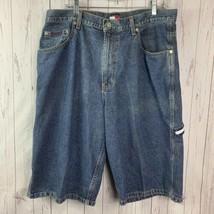 Tommy Hilfiger jean shorts mens 34 meidum dark wash blue VINTAGE - $29.70