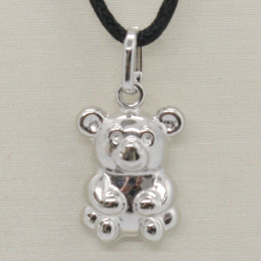 18K WHITE GOLD ROUNDED TEDDY BEAR PENDANT CHARM 22 MM SMOOTH & SATIN ITALY MADE