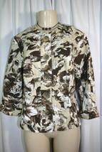 Coldwater Creek Womens Beige Brown Floral Print 3/4 Sleeve Jacket Size 10 - $7.59