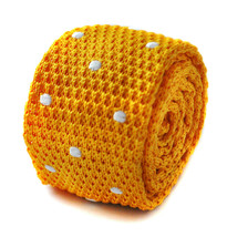 Frederick Thomas Knitted Skinny Bright Yellow Gold & White Spot Mens Tie FT1731