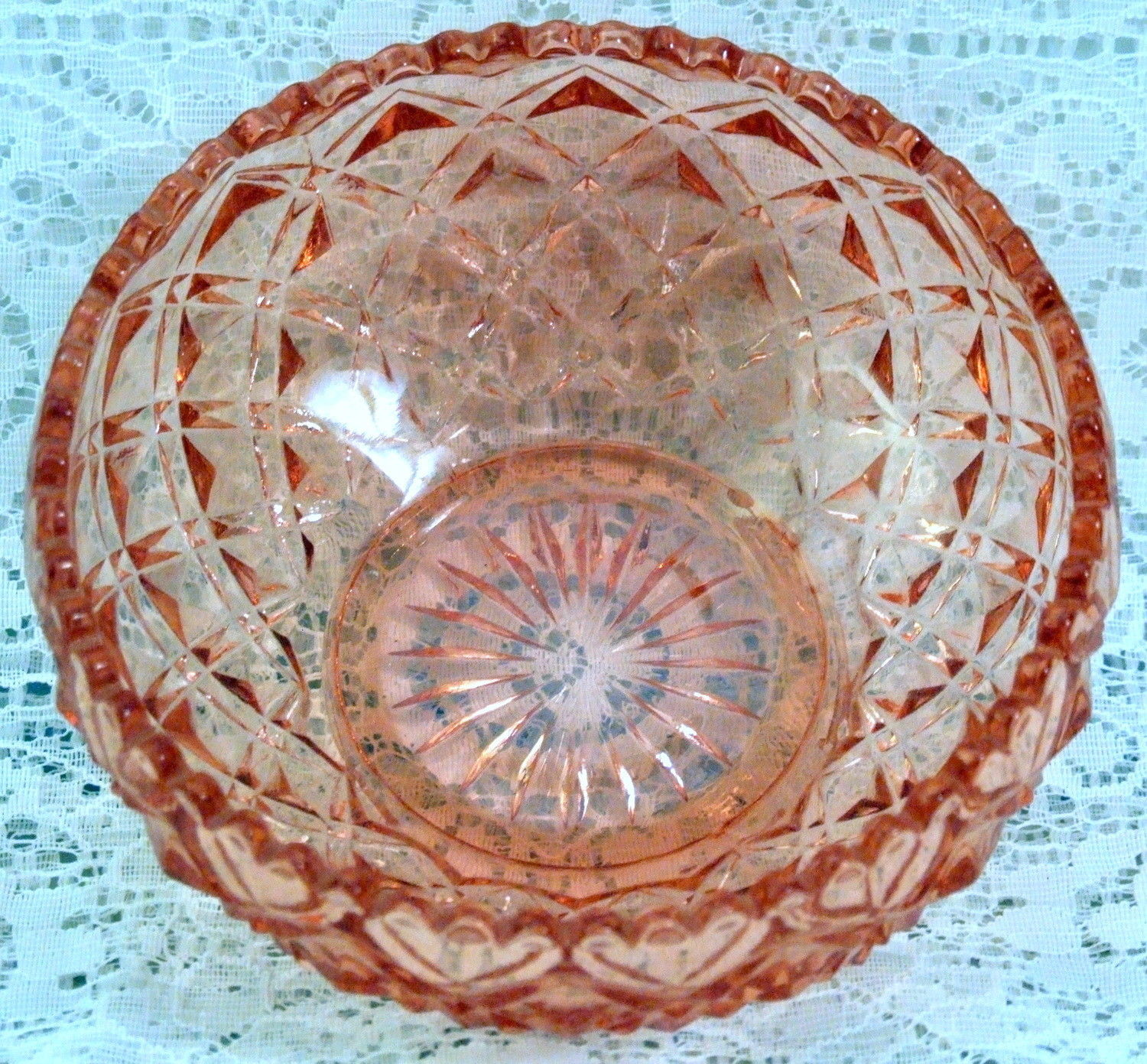 Vintage Imperial Diamond Block Pink Depression Glass Lily Bulb Bowl