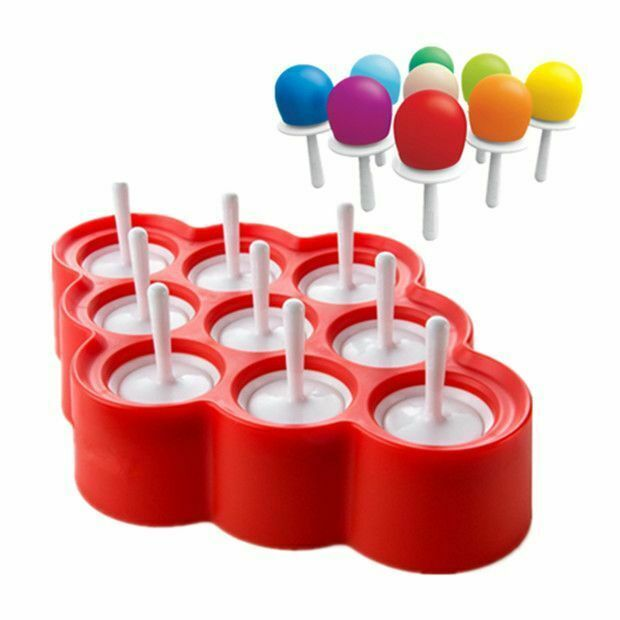 Silicone Ice Pops Mold Ice Cream Ball Lolly Maker Popsicle Molds With 9 Stickers