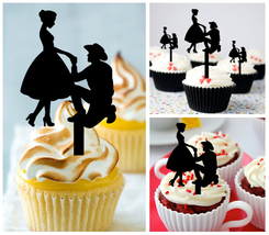 Wedding,Birthday Cupcake topper,silhouette cowboy couple in love : 10 pcs - $10.00