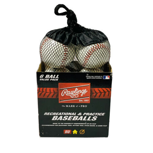 Primary image for Rawlings Official League Recreational Baseballs R8U 6 Pack in Mesh Bag New