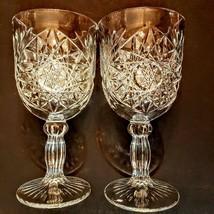 Libbey Hobstar Water Goblet Lot Of 2 Pressed Pattern Wine Glass 10 Oz Stemware - $15.84