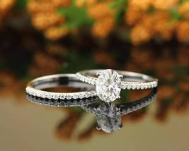 Forever Engagement Ring Set, Oval D/VVS1 Diamond In 14k White Gold Over Silver - $108.79