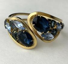 Shades of Blue Clamper Bracelet Vintage Gold Tone Statement Glass Prong Set - $69.25