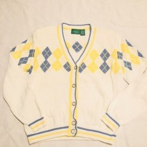 LIZ CLAIBORNE Golf ARGYLE CARDIGAN SWEATER Small White - $14.25