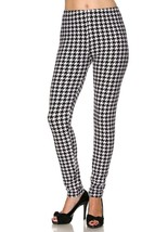 Cali Chic Juniors' Leggings Celebrity Brushed Hounds-tooth Print Ankle L... - $11.99