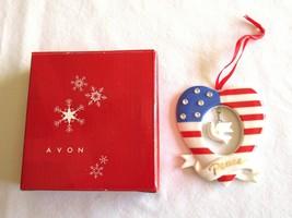Avon Patriotic Ornament Porcelain Stars & Stripes Heart Peace Rhinestone... - $12.34