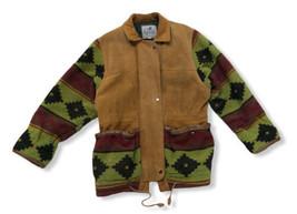 Vtg Blue Duck Jacket Genuine Thick Aztec Leather Western Men Medium Flaw... - $146.52