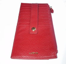 Lodis Red Leather Flat Wallet Card Case Zip Pocket Great for Smaller Bags! - $20.00