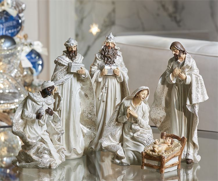 6 pc Elegant Nativity Set White Coloring with 6 Figures Polyresin NEW
