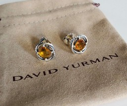 David Yurman Silver Stud Infinity Earrings with Citrine 7x7 NEW Authentic - $166.25