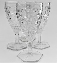 4 Fostoria American Clear  Water Goblets Wine Glasses Hexagon Base Vintage  - $49.50