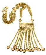 VINTAGE GOLDETTE EGYPTIAN REVIVAL OPEN BACK FAUX TOPAZ CRYSTAL FRINGE NECKLACE - $179.99