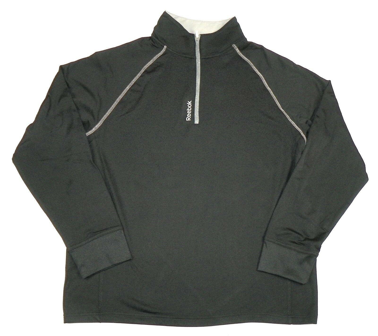 Men's Reebok Pullover Shirt 1/4 Zip Performance Long Sleeve Fitness Black NEW