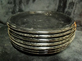 "Set Of (7) Crown Corning Prego Black 7 1/2"" Plates ~ Rare - $59.40"